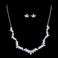DOKOL New Fashion Marquise Cut AAA Cubic Zirconia Jewelry Sets Silver Color Necklace and Earrings For Party DKS0001
