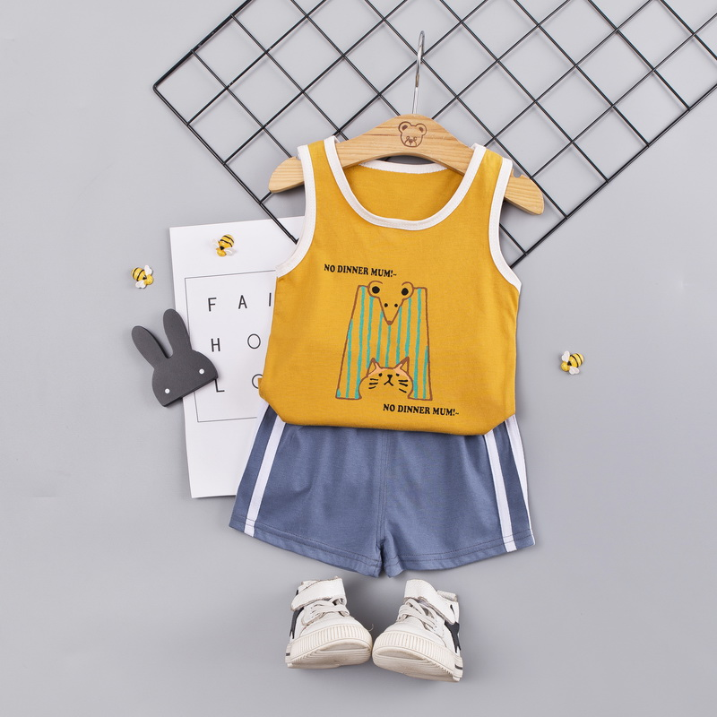 Summer children clothes 2pcs Baby Boys clothes Casual Sleeveless Striped Pineapple Vest Tops Shorts Suits Costume Set Fashion 1 in Clothing Sets from Mother Kids