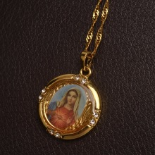 Christian Jewelry Enamel Blessed Virgin Mary Pendants Necklace