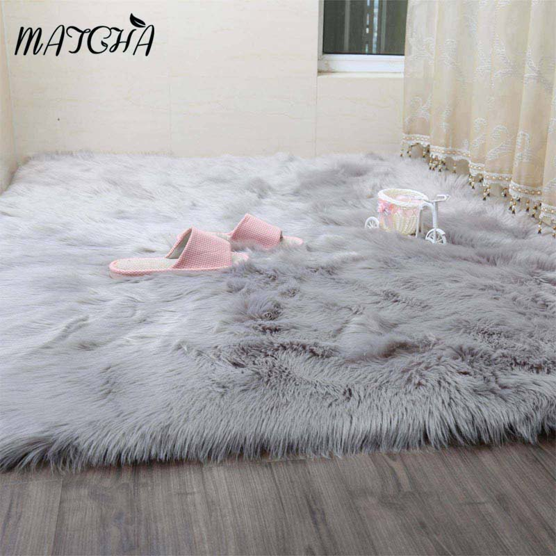 Caramel White Faux Sheepskin Rug Long Faux Fur Blanket