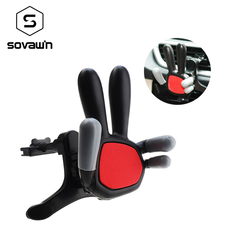 Sovawin Universal Car Mobile Phone Holder Air Vent Outlet Use Mount Holder Stand Vehicle Mounted Adjustable 360Degree Rotatable
