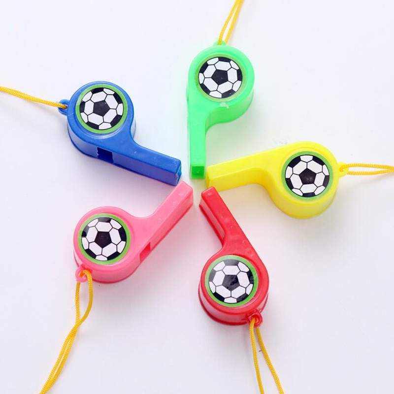 5PCS Soccer Football Party Favors Whistles Pack Sports Easter Basket Filler Prize Kids Birthday Party Gift Christmas With String