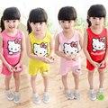 2017 nova hello kitty conjunto de roupas meninas colete + shorts de duas peças conjunto de roupas para meninas gatinho moda bebê roupas de menina