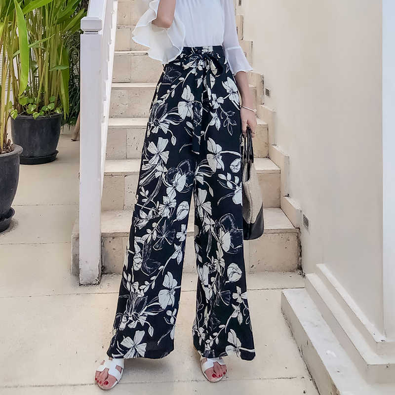 Pottis  Real shot of 2018 new holiday Thailand pants large size bohemian wide leg pants beach pants fashion travel trousers
