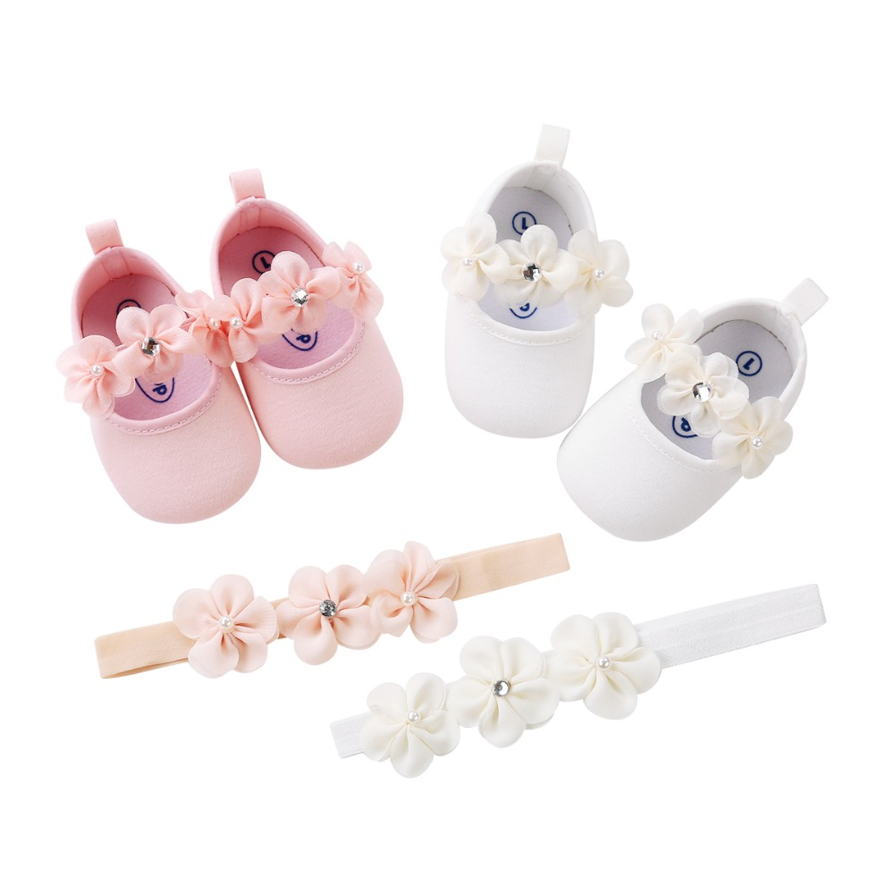2018 New 2pcs/set Flower Headband Cute style Newborn Cotton Fabric Baby Soft soled shoes First Walkers baby princess shoes