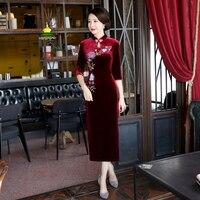 Shanghai Story Chinese Oriental Dress Velvet Qipao dress Chinese traditional dress 3/4 Sleeve long cheongsam for women