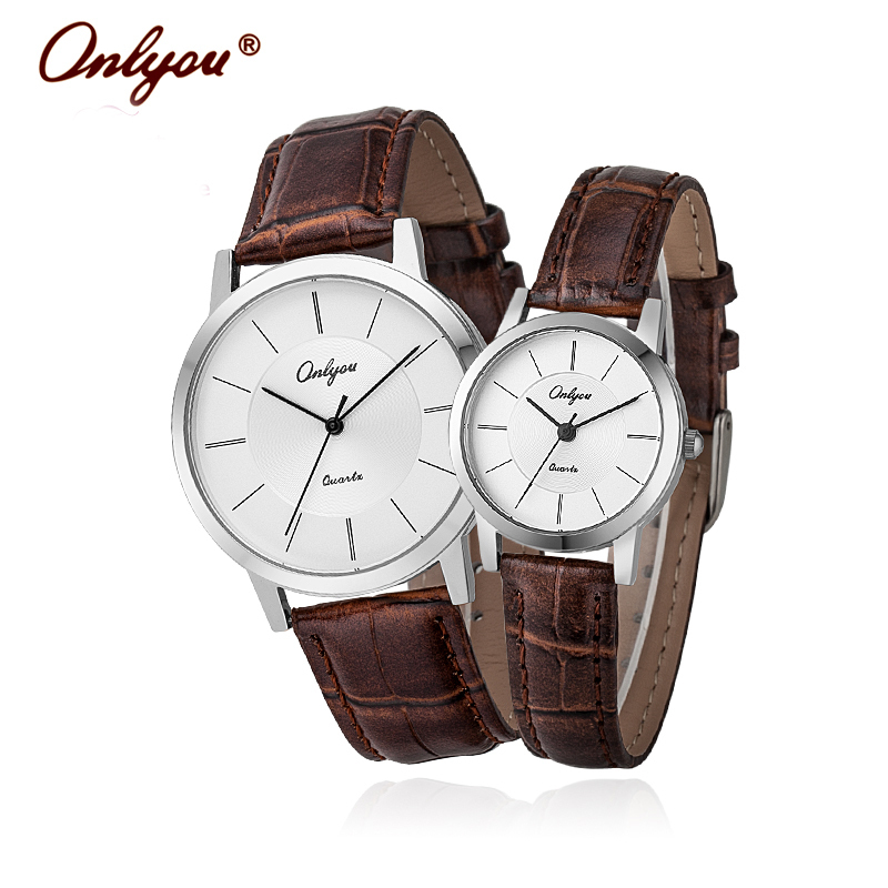 ФОТО Onlyou Brand Lovers Watches Leather Quartz Watch Fashion Black Rose Gold Ladies Dress Watch Waterproof Mens Wristwatches 8866