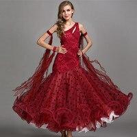 red ballroom dance competition dresses standard ballroom dress standard dance dresses luminous costumes ballroom waltz dress