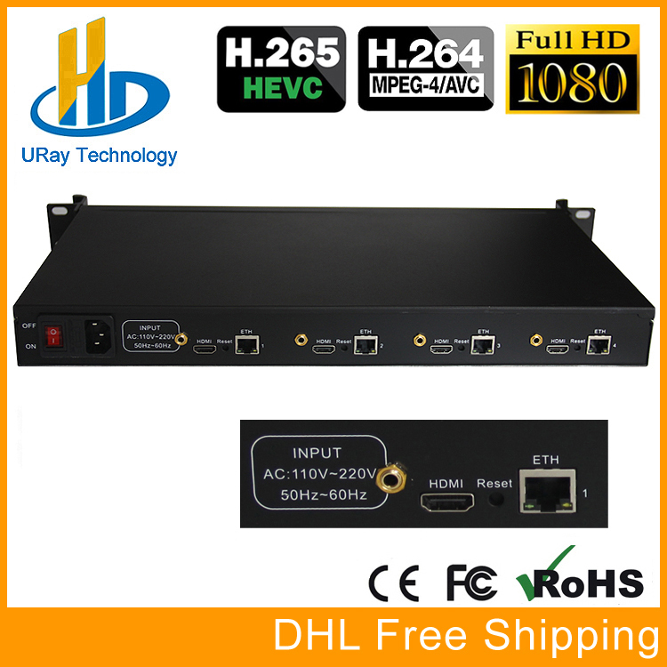 URay 4 Channels HEVC H.265 HDMI To IP Encoder Transmitter Live Streaming Encoder IPTV H264 Network Video IP Encoder RTMP Server hd h 265 hevc avc 1u 4 channels hdmi dvb t encoder modulator for ip stream to vlc media server xtream codes