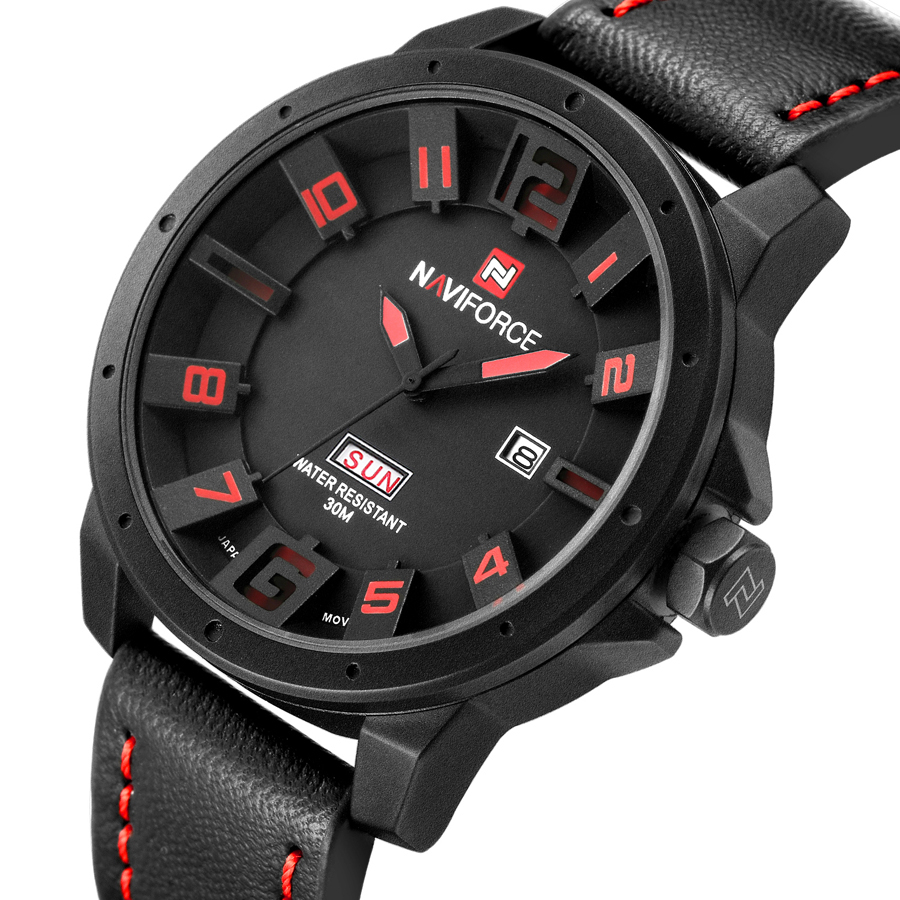 NAVIFORCE Luxury Brand Military Watches font b Men b font Quartz Analog 3D Face Leather Clock