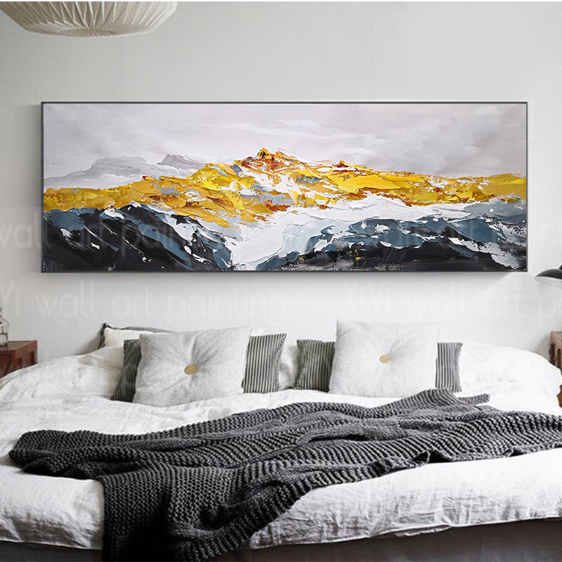 Us 67 5 10 Off Canvas Painting Gold Art Mountains Wall Art Pictures For Living Room Original Abstract Landscape Acrylic Texture Quadros Caudros In