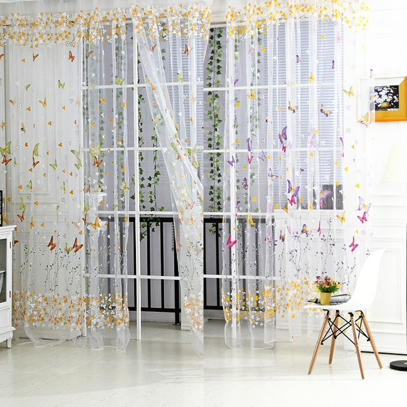 US $3.46 25% OFF|Butterfly Tulle Window Curtains Roman Shades Window  Curtain Blinds Embroidered Sheer Curtains for Kitchen Living Room Panel-in  ...