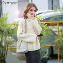 e1487d4099f33 2018 New Women s Turtle Neck Sweaters Pullovers Oversize Knitted Long  Sleeve Basic Ladies Knit Pull Turtleneck