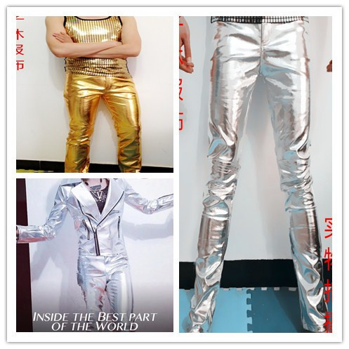 2016 newest plus size men stage show male singer DJ dancer costume gold silver slim PU trousers pants personalized wear bodysuit