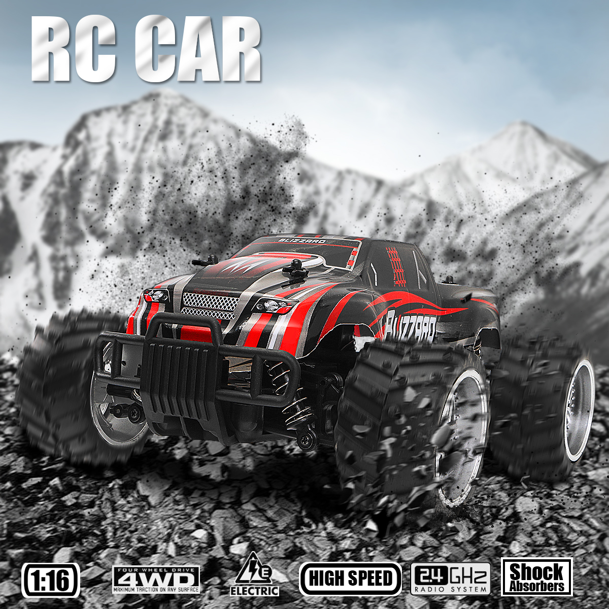 1/16 Scale 2WD 2.4GHz High Speed Radio Remote Control RC Crawler Racing Buggy Car Off Road Truck RTR Gift Toy for Children Kid watch band12mm 14mm 16mm 18mm 20mm lizard pattern black genuine leather watch bands strap bracelets silver pin watch buckle