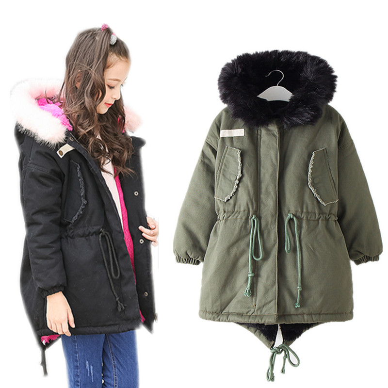 6 to 16 years kids & big teenager girls faux fur hooded thick fleece parkas jacket children fashion drawstring warm winter coats