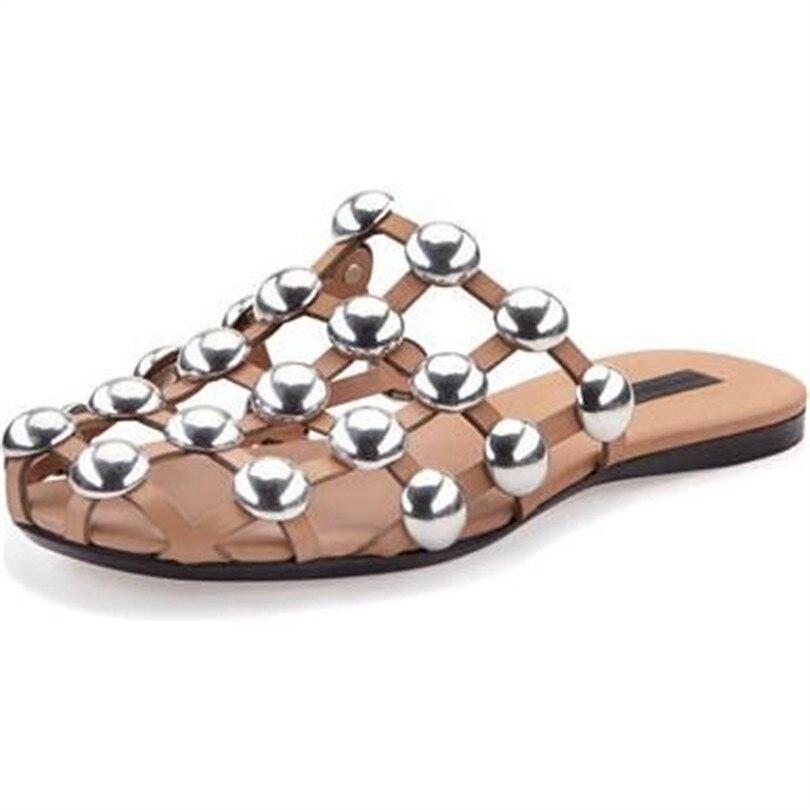 Décoration Avec Casual Clouté Rond Femme Chaussures Marque Métal as Bout Superstar Plat Cuir En As Rivet Web Femmes Pic Pantoufle Sandale Pic g7gqIrz