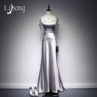 Modern Gri Boncuklu A-line Abiye Uzun Aç Geri Kat Uzunluk Kadınlar Akşam Örgün Elbise Maxi Abiye vestidos de festa