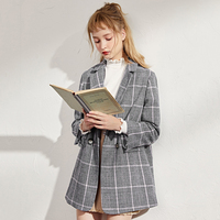 Fashion Brand Women Blazer Wool Jacket Elegant Plaid Double breasted Blazer Coat 2019 Autumn Winter Suit Collar Wool Coat Women