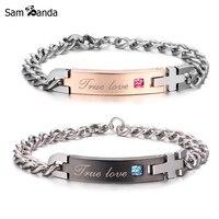 2017 Drop Shipping Unique Gift For Lover True Love Couple Bracelets Stainless Steel Bracelets For Women