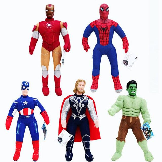 5 pçs/set 26 cm Spiderman Batman Superman Ironman Hulk Capitão América Thor Figura Brinquedos Quentes Frete Grátis