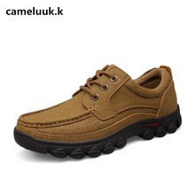 Cameluukk New Brand Men's Basic Daily Casual Men Flats Leather Comfortable Leisure Fashion Male outdoor Shoes plus size 38-47