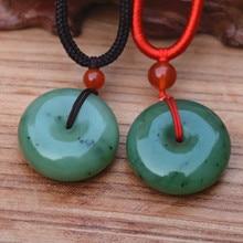 (Certificado) Verde Natural piedra Nefrita HETIAN Colgante Redondo de la hebilla de La Paz Colgante de Cuerda Collar Mujeres hombres Joyería Libre