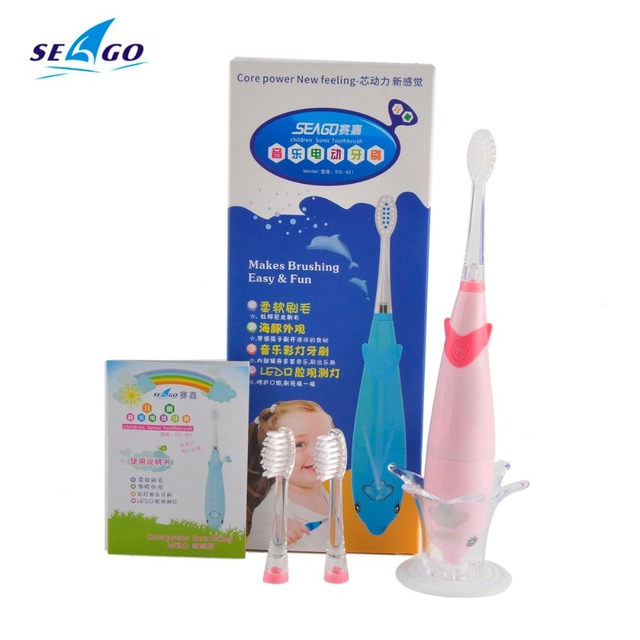 Cartoon Dolphin Children Electric Toothbrush Music Tooth Brush Kids Sonic Toothbrush Electric + 3 Heads SG-621 free shipping