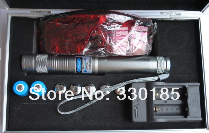 High power blue laser pointers 20000m 450nm flashlight Light burning match/dry wood/burn cigarettes+5 caps+glasses+charger+gift
