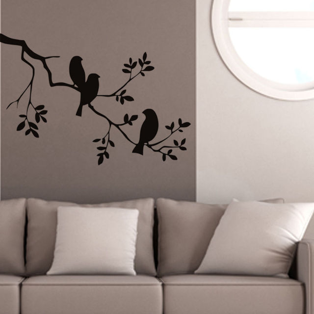 birds on the tree branch wall stickers 57x85cm vinyl wall art decals