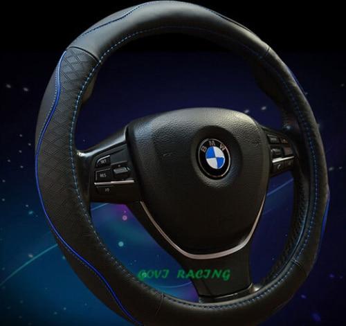 Cowhide Genuine Leather Car Steering Wheel Cover 38cm Red