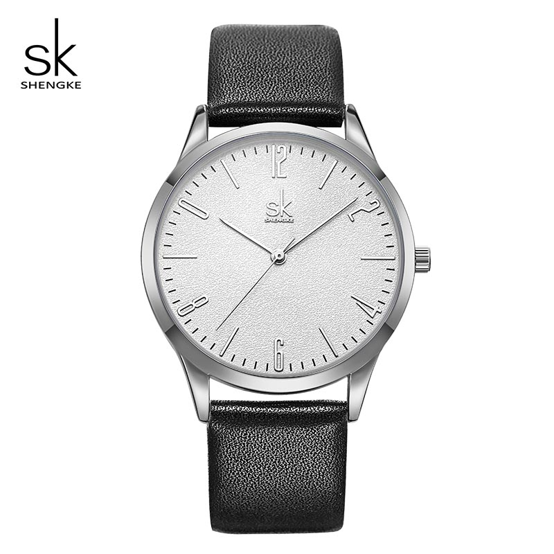SK Fashion Leather Women Men Couple Watches SHENGKE Luxury Lovers Clock Quartz Female Male Wrist Watch 2019 Reloj Mujer Hombre