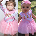 2017 Todder Girl Outfits Children Clothing Girl Letter One Two Baby Dresses For Baptism Party Baby Girl 1 Year Birthday Dress