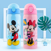 450ML Baby Straw Insulated Bottle Mickey Minnie Thermos Water Cup Feeding Kids Children 304 Stainless Steel Bottles Thermal Cup