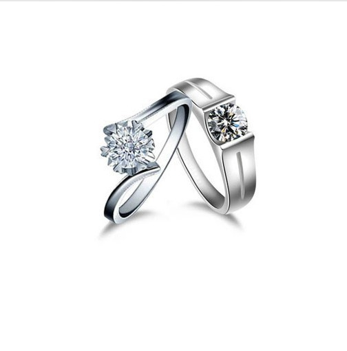 solid sterling silver ring jewelry couple quality synthetic diamonds lovers pair ring forever love promise engagement - Cheap Wedding Rings For Him And Her