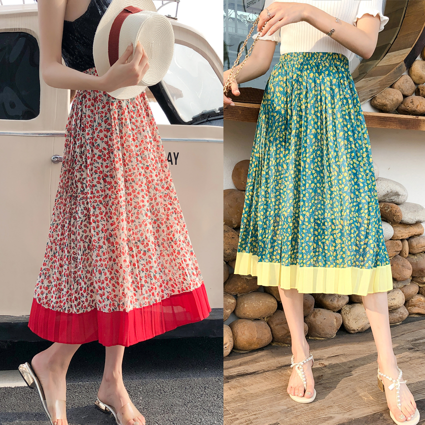 YICIYA Korean Vintage Style Office Women High Waist Elastic Waist Red Floral Print on White A line Splice Pleated Midi Skirt in Skirts from Women 39 s Clothing