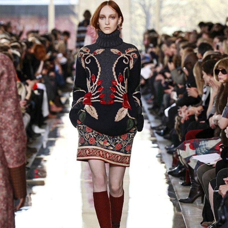 Luxury Runway Designer Wool Sweater Women 3D Flora Embroidery Vintage Knitwear 2018 Winter Turtleneck Pullover Warm Jumper