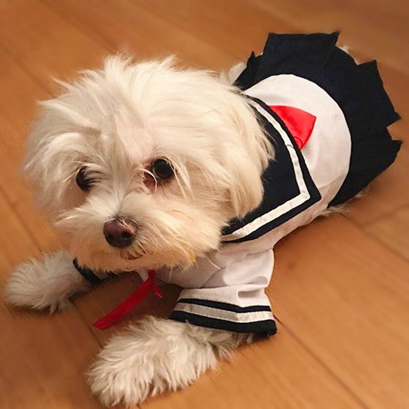 2016 Vestido de Cão Gato de Estimação Roupas de Estilo Navy Marinheiro Traje Uniforme Saia de Verão Vestuário Filhote de Cachorro Roupas Para cães de Pequeno porte 15