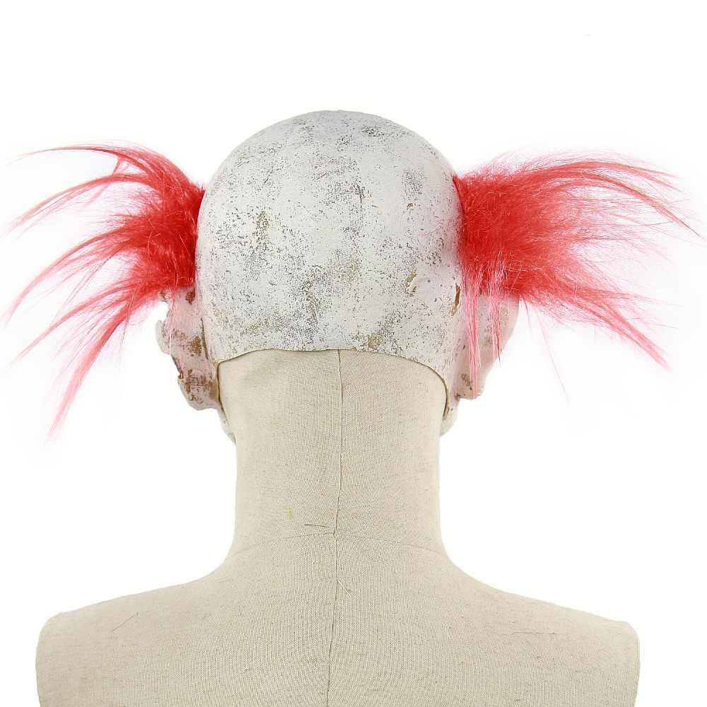Lateksowa straszny klaun maska z rude włosy gadżety na halloween maski przerażająca maska potwór Zombie przerażające maski okropna dorosła pełna twarz