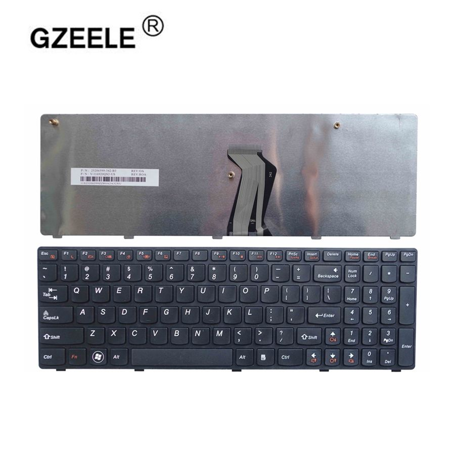 GZEELE new US English Laptop Keyboard for Lenovo G560 G 560 G565 G560A G565A G560E G560L black notebook keyboard with frame