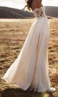 Chiffon Beach Wedding Dresses 2017 New Casual Style Backless Boho Vestidos De Noiva Lace Bridal Gowns