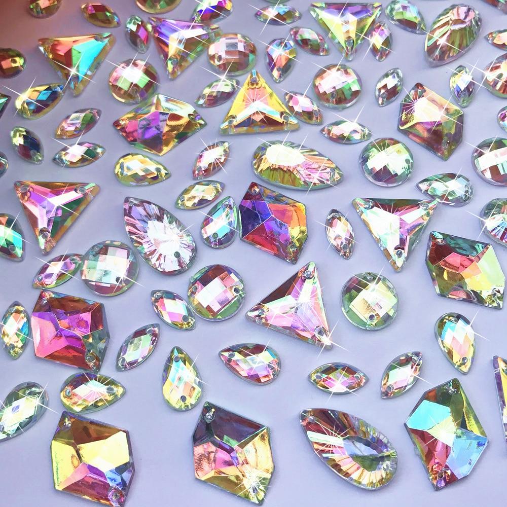 Drop Round 315pcs Mix Sew On Flatback AB Rhinestone Beads Strass Crystal Stones Sewing For Crafts Girl Wedding Dress Decorations