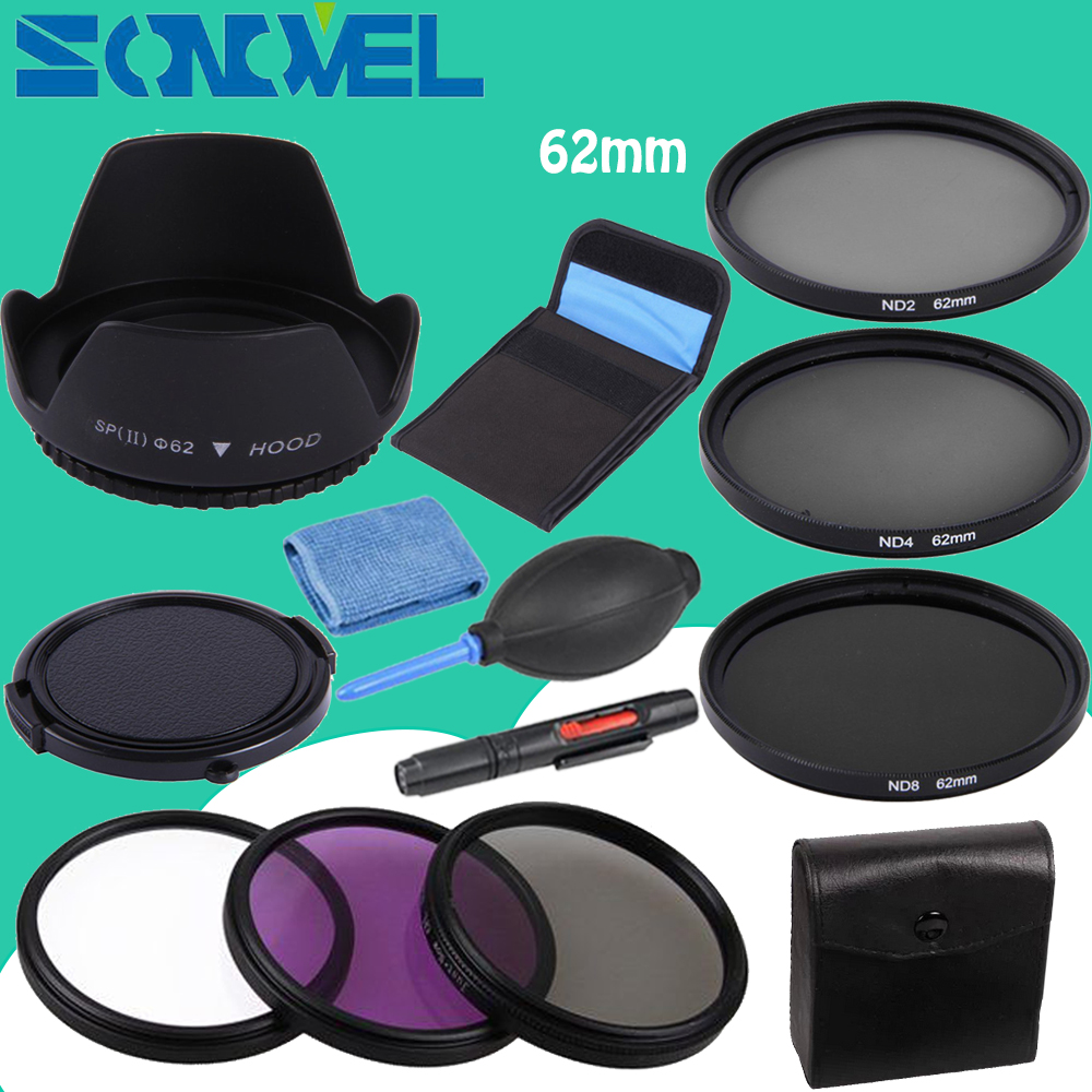 62mm UV CPL FLD ND 2 4 8 Neutral Density Filter <font><b>Lens</b></font> Set+<font><b>lens</b></font> hood+Cap For <font><b>Sony</b></font> NEX-5R NEX-F3 NEX-6/7 E <font><b>18</b></font>-<font><b>200mm</b></font> / E 10-18mm f/4 image