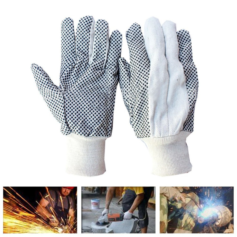 Soft Cotton Gloves Wear-resistant Antiskid Gloves with PVC Dots Breathable Safety Hand Protective Gloves for Labor Work high quality hand tool gloves 12 pairs 700g cotton gloves wear resistant work thick gloves against high low temperature gloves