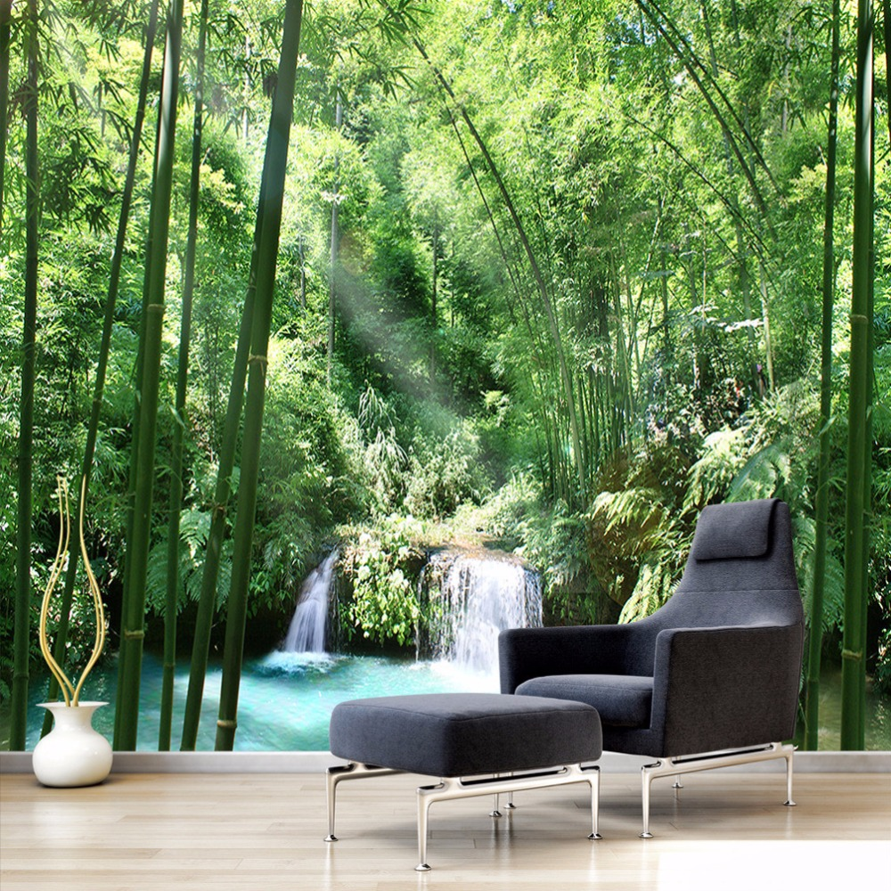 цены  Customized Size Nature Landscape Photo Mural 3D Green Forest Bamboo Wallpaper For Living Room Bedroom Creative Home Decoration