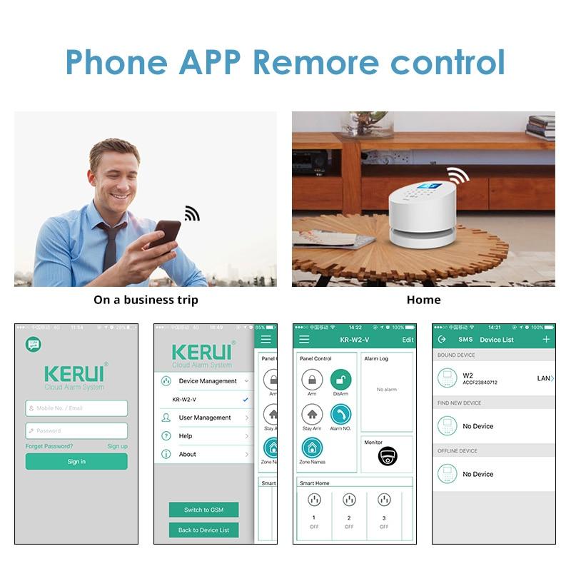 KERUI W2 WIFI GSM System alarmowy PSTN inteligentne bezpieczeństwo w domu wykrywanie ruchu na podczerwień brama przełącznik magnetyczny zestaw alarmowy