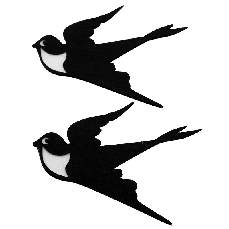 New 2Pcs Swallow Free Cutting Felting Handmade Walls Kindergarten Decoration Diy Kids Room Home Decoration Cute Birds Material