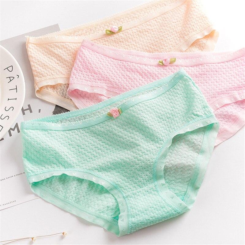 6pcs/lot cotton underwear women high waist lace briefs
