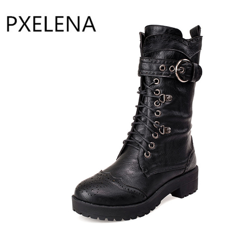 PXELENA 2017 Vintage Female Motorycle Rivet Buckle Military Boots Womens Combat Martin Lace Up Riding knight