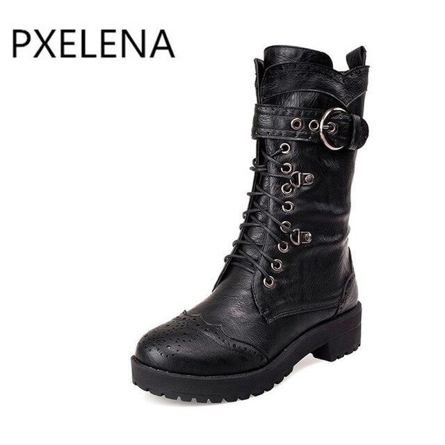 2017 automne et d'hiver nouvelles femmes & # 39; bottes de paillettes rondes en métal épais avec les bottes élégantes bottes Martin ZOOZIRmp